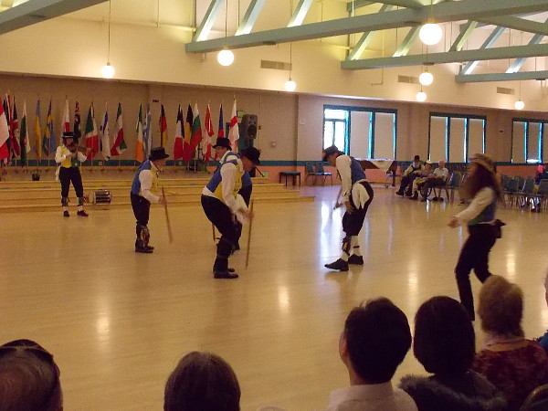 An International Dance Festival was underway in the Balboa Park Club. These folks were dancing to a fiddle.