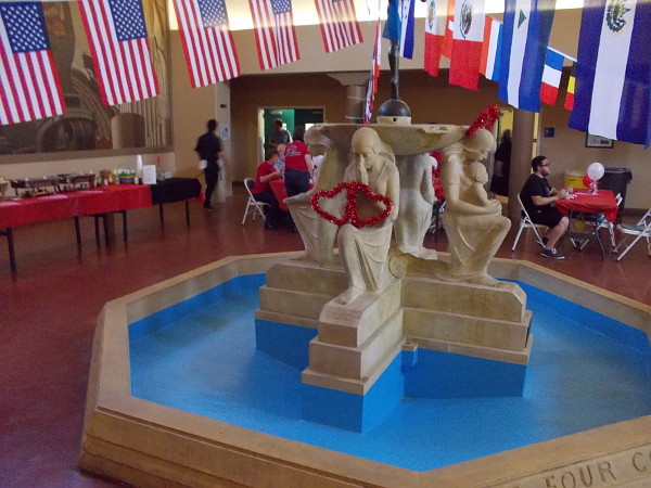 Hearts were placed on the sculpture at the center of the Balboa Park Club's indoor fountain.