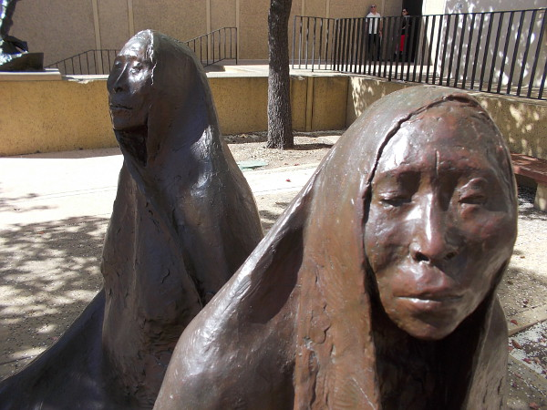 Close-up photo of Mother and Daughter Seated, Francisco Zuniga, 1971. Part of the San Diego Museum of Art's new outdoor exhibition Art of the Open Air.