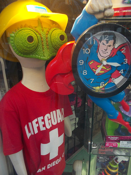 This alien lifeguard in a yellow hard hat is about to be clobbered by Superman!