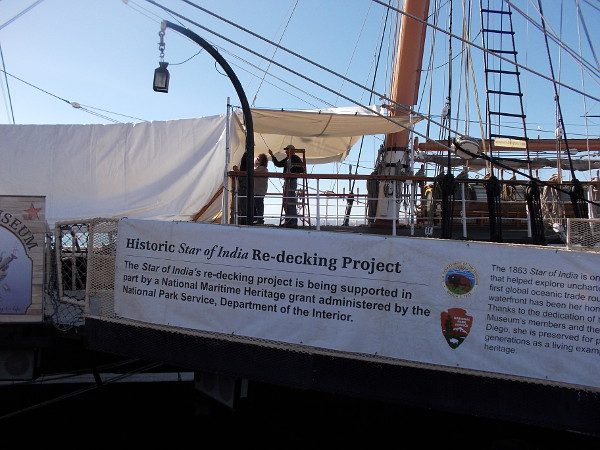 The Star of India's re-decking project is being supported in part by a National Maritime Heritage grant administered by the National Park Service, Department of the Interior.