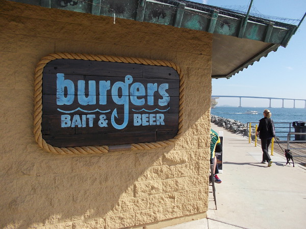 Burgers, Bait and Beer can be found at the foot of the Embarcadero Marina Park South Pier, behind the convention center!