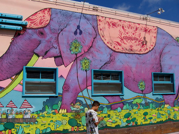 Exotic elephant on wall of the Crest Cafe in Hillcrest, created by San Diego artist Cody Griffith in 2012.