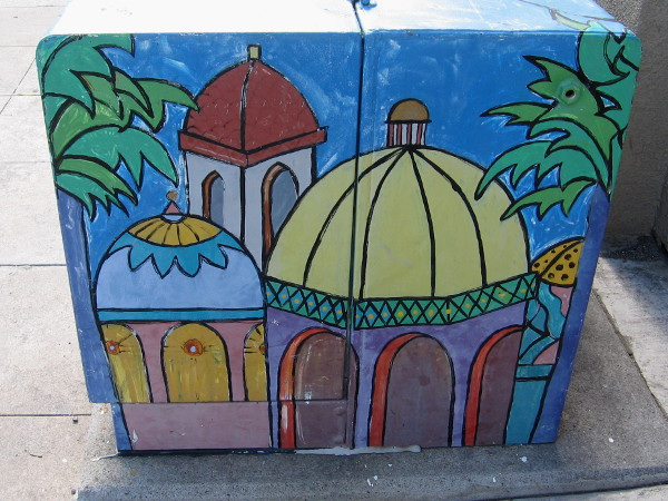 Exotic domes and arches painted on a boring old electrical transformer.