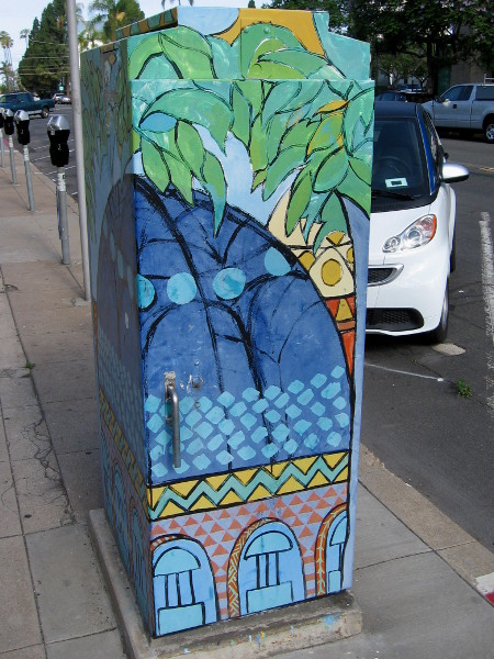 Utility box on a street corner is an unusual canvas for an inspired artist.