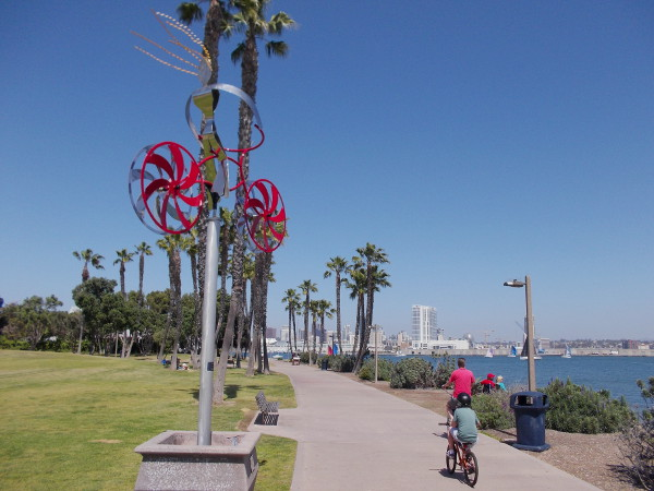 Heading down the Bayshore Bikeway on Coronado Island, with a bit of downtown San Diego in the background.