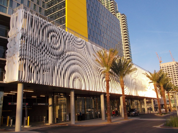 Sunlight reflects from an interesting, eye-catching sculptural facade in downtown San Diego.