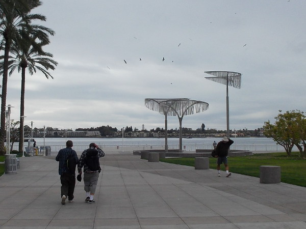 Walking along near the Hilton, heading toward the edge of San Diego Bay.