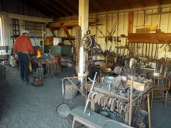 Photo inside the well-equipped blacksmith exhibit. It's located behind Seeley Stable at Old Town San Diego State Historic Park.