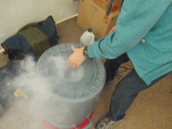 """The """"airzooka"""" is loaded with carbon dioxide gas, using either dry ice (be careful) or a fog machine."""