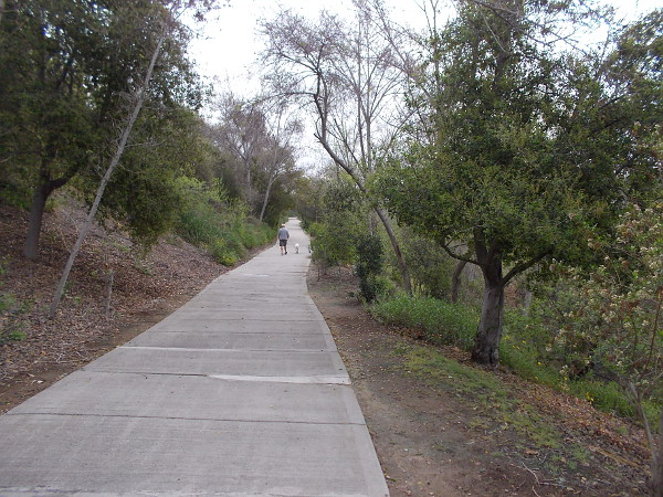 Bicycle and pedestrian paths follow the San Diego River through Mission Valley.