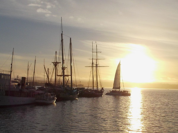The catamaran Aolani sails behind the Maritime Museum of San Diego just before sunset.