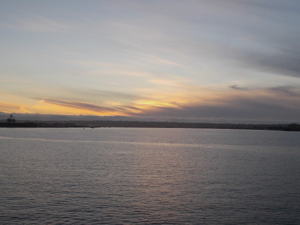 A soft sunset and still water. Nightfall on San Diego Bay.