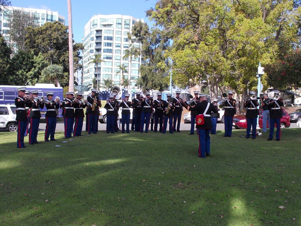 Marine Band San Diego gets ready to participate in the 2016 St. Patrick's Day Parade.