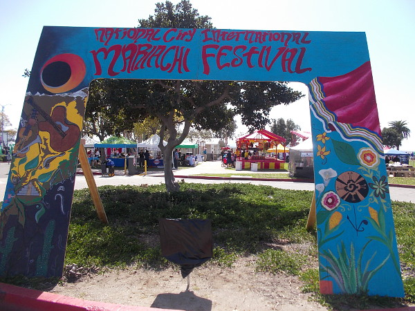 A colorful arch welcomes visitors to Pepper Park and the 2016 National City International Mariachi Festival!