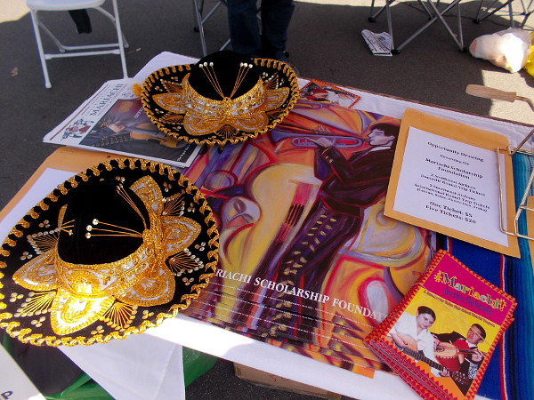 Fantastic sombreros attracted my camera at the festival's Mariachi Scholarship Foundation table.