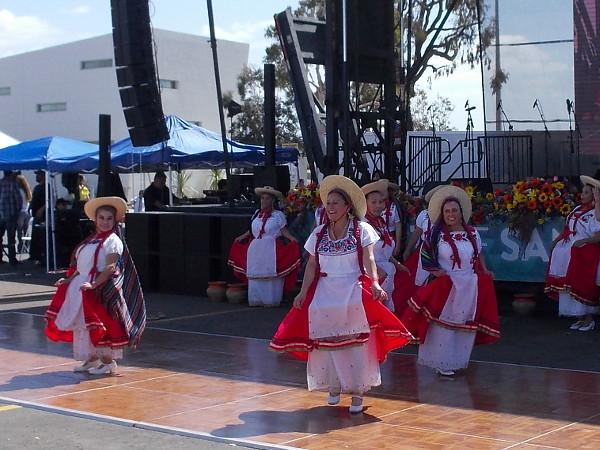 Members of Danza Folklorico Las Florecitas perform Mexican folk dances in Pepper Park.