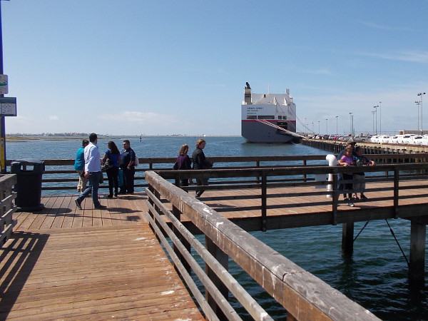 Taking a break to stretch my legs, I walked out on the short pier in National City's Pepper Park. Visible is a huge car carrier ship docked in San Diego Bay. It transported imported vehicles from Asia.