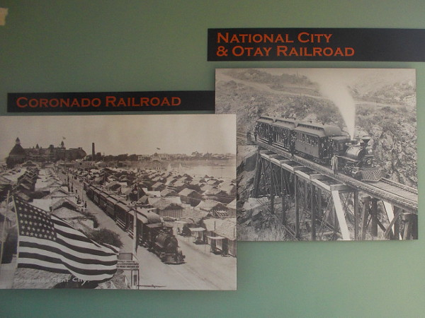 Two old photographs. On the left, the old Coronado Railroad went through Imperial Beach and up the Silver Strand to Tent City in Coronado. One can see the Hotel del Coronado!