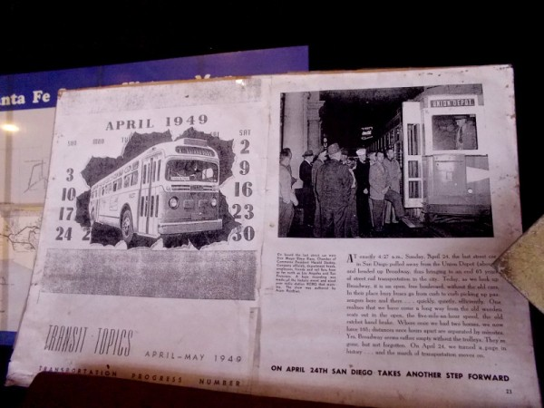 A magazine article on display for train buffs and history enthusiasts to check out. Buses replace the old network of trolleys in 1949.