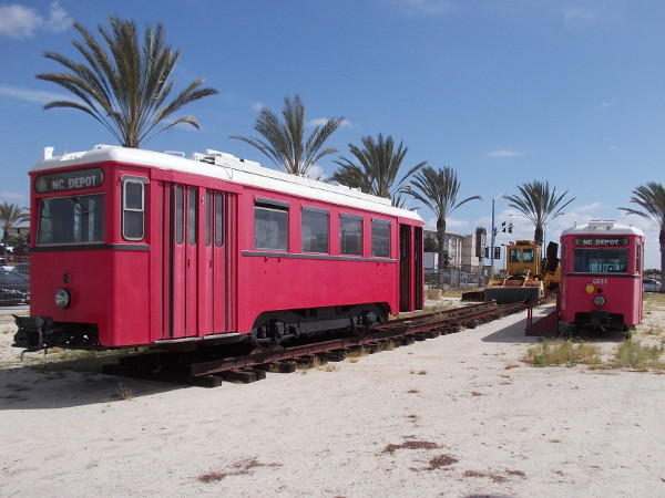 Two of National City Depot's three old Austrian streetcars. These were going to be used by MTS for the San Diego Trolley in the Gaslamp Quarter, but couldn't meet ADA standards, as I understand it.