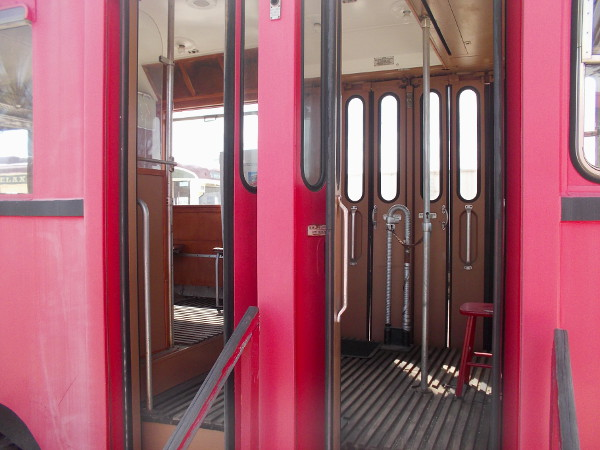 Now we're stepping into one of the old Austrian streetcars!
