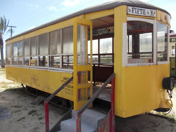 Now we're checking out Birney Car 336, out in the open lot beside the National City Depot. This is one type of streetcar that transported people in San Diego decades ago.