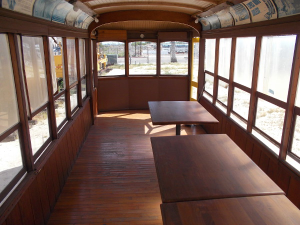 Inside the old Birney Car. I'm hungry for some spaghetti! Where are the chairs?