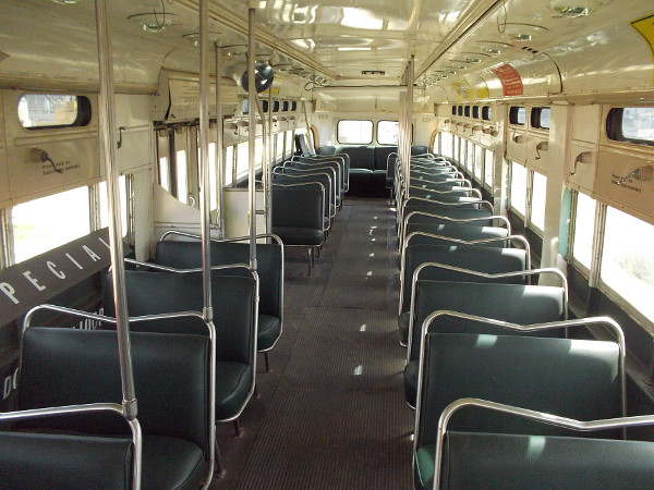 Inside the fabulous PCC car. The San Diego Trolley has two completely restored cars of this type, now running on downtown's Silver Line.