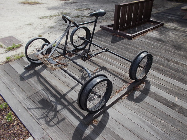 Seriously? This one is basically a bicycle for train tracks! Except it has four wheels! And a bike chain, of course!