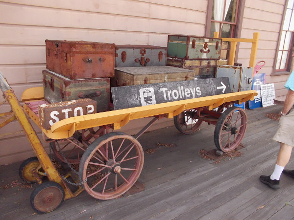 This luggage cart near the entrance to the National City Depot was donated by the Maritime Museum of San Diego--it evidently was aboard the steamboat Berkeley at one time.