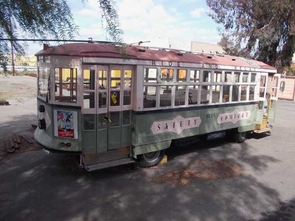 San Diego Electric Railway Association's fun Herbie is a Brill streetcar replica. A parade and car show's popular Streetcar on Wheels!