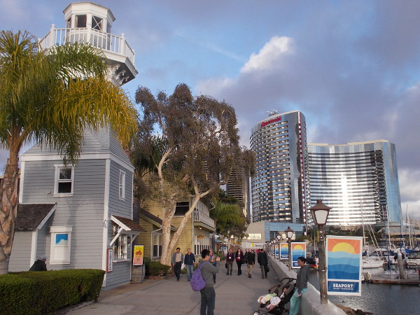 Walking through Seaport Village toward the Marriott Marquis and Marina. The beautiful hotel is shining like precious silver.