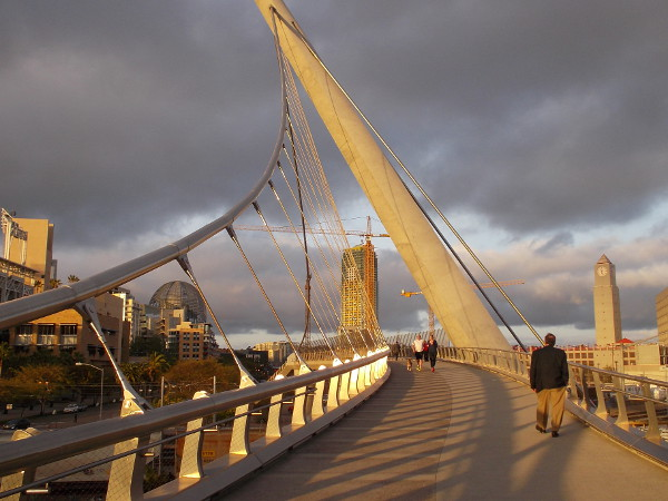 A golden pathway through the city. Amazing beauty seen during a late afternoon walk on the bridge over Harbor Drive.
