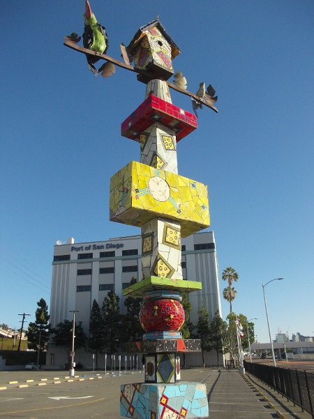 Whimsical public artwork that now stands across the parking lot from the Port of San Diego building, on Pacific Highway.