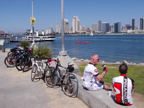 Bicyclists relax after a ride along the Bayshore Bikeway. Another perfect day.