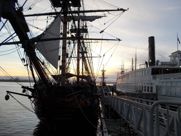 HMS Surprise, steam ferry Berkeley, and a beautiful sky.