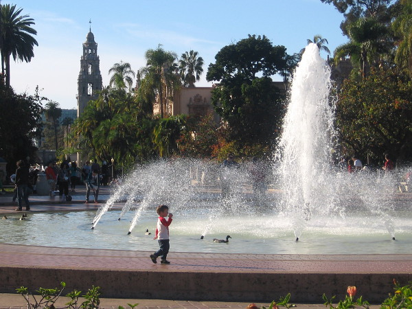 A glimpse down El Prado past the big fountain, from east to west, through the central part of Balboa Park.