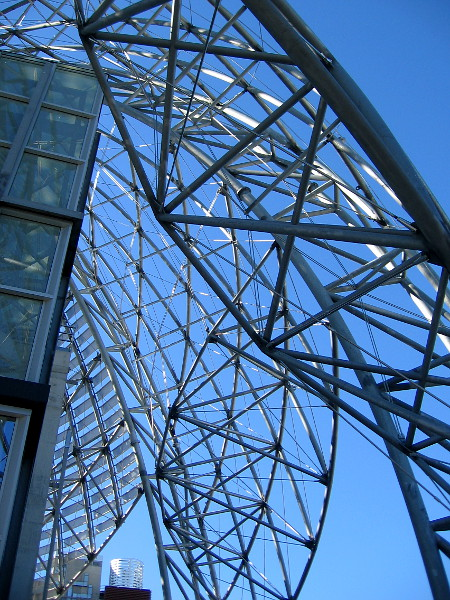 Looking upward at the metal dome and blue sky. Amazing views can be had of downtown from the library's ninth floor.