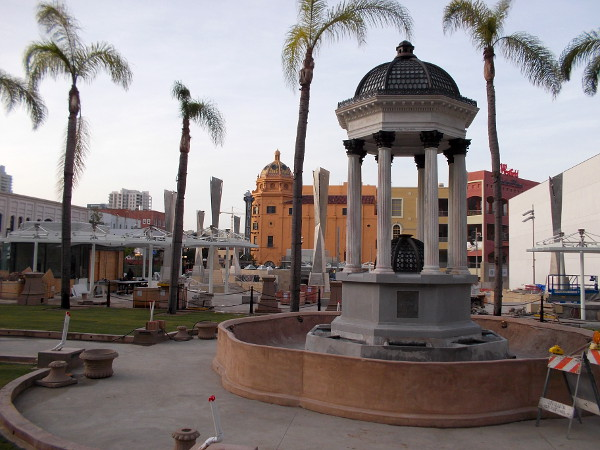 One of San Diego's oldest surviving landmarks, the 1910 Broadway Fountain, designed by Irving Gill, will be an iconic part of the new Horton Plaza Park.