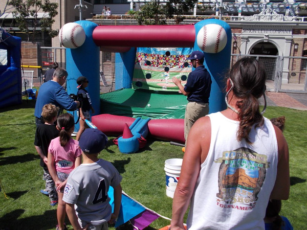 Young Padres fans test their batting ability at KidsFest at Petco Park.