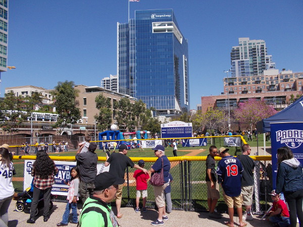 Photo of the busy children's baseball field, an awesome feature of the public park situated beyond Petco Park's outfield.