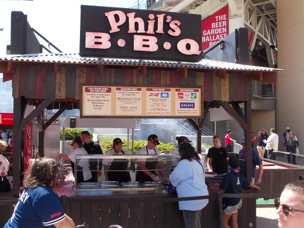 Phil's BBQ is a local favorite. Lots of tasty stuff was available at concessions inside and outside the stadium, including old classics like hot dogs.