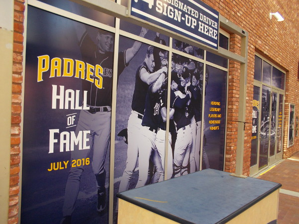 Some graphics at Petco Park commemorate Padres Hall of Famers.