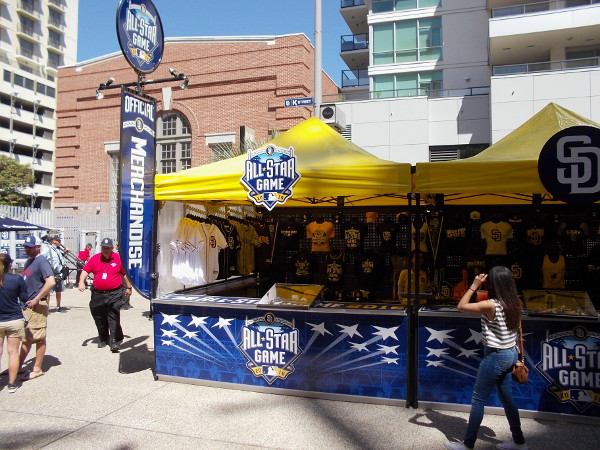 A booth anticipating this year's 2016 MLB All-Star Game sells official merchandise at Padres FanFest, the weekend before Opening Day.