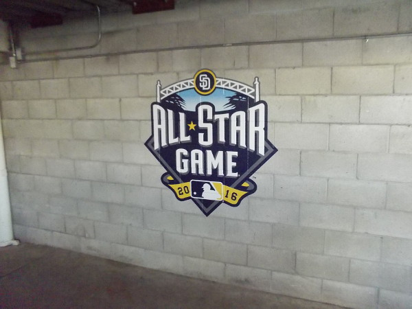 2016 San Diego All-Star Game logo at end of pedestrian ramp inside Petco Park, stadium home of the MLB Padres.