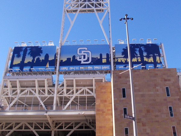 This large sign at the top of Petco Park announces that San Diego is home of the 2016 All-Star Game.