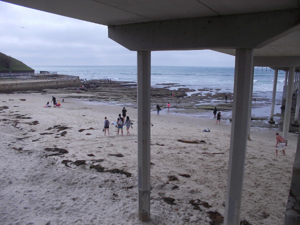 Looking under the OB pier as I climb up its stairs for an overhead view of the tide pools.