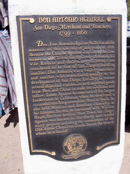 Don Jose Antonio Aguirre was known for his charity and funded many projects in early San Diego. His wife and many children are considered to be one of the city's founding families.