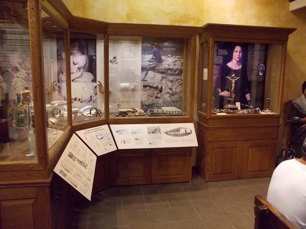 One side of El Museo Casa de Aguirre. Excavated artifacts are on display, recalling what life was like here in the mid to late 19th century.